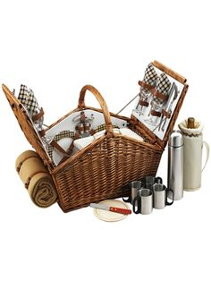 Outdoor Gifts: Picnic at Ascot: Huntsman Basket for Four with Coffee Set & Blanket in London Plaid