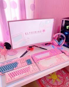 Gaming Desk Setup, Best Gaming Setup, Pc Setup, Cute Desk Decor, Gamer Bedroom, Pink Games, Otaku Room, Cute Room Ideas, Kawaii Room