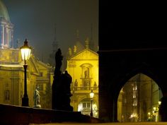 There are two visiblearchitectural landmarks in this night photo from Prague. Find out if you know the answer» Photograph by René Jakl, Spectrum Pictures