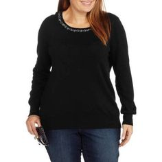 Plus Size George Women's Plus Embellished Pullover Sweater, Size: 3XL, Black