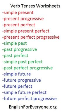 Comprehensive site full of free, printable worksheets with all verb tenses - no registration required!