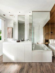 Arquitetura do Imóvel : banheiros e lavabos - banheiro integrado lindo demais. #banheiro, #quarto
