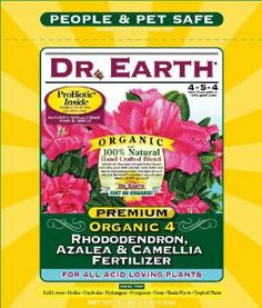 Dr. Earth 703P Organic 4 Azalea/Camellia/Rhododendron Acid Fertilizer in Poly Bag, 4-Pound by Dr. Earth. Save 18 Off!. $14.81. Exceptional results because nutrients are released quickly; feeds for several months. Makes soil more acidic; 100-percent natural and organic; superior buds and blooms. Eight select strains of ecto and endo mycorrhizae contribute to drought tolerance, enhanced nutrient availability and increased plant performance. Contains pro-biotic, seven champion strains of b...