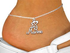 """I Love My Marine"" Anklet Jewelry 