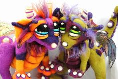 OOAK Custom Made to Order Baby Dragon pup Needle Felted Soft Fantasy Soft Sculpture Wool Fiber Art Doll Plush. $175.00, via Etsy.