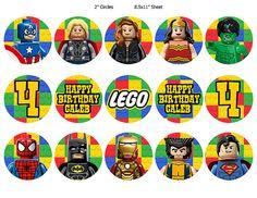 Lego Superheroes Cupcake Toppers Digital by LastingMomentsDesign, $5.00