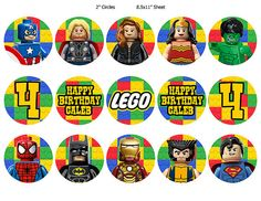 Lego Superheroes Cupcake Toppers Digital by LastingMomentsDesign, $5.00