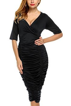 On Clearance Women Sexy Deep V-Neck Solid Draped Bodycon Stretch Going Out  Dresses. Women s Fashion e1fa7aa8d708