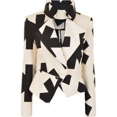VIVIENNE WESTWOOD ANGLOMANIA Asterisk Blazer (23,575 INR) ❤ liked on Polyvore featuring outerwear, jackets, blazers, coats, black pattern, pattern jacket, peplum blazer, black blazer, print jacket and patterned blazer