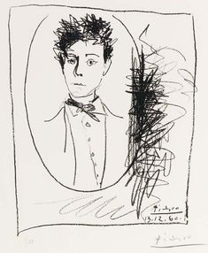 Portrait of Arthur Rimbaud by Pablo Picasso, 1960.