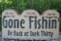 Painted Paver Outdoor Garden Decor Gone Fishin Be Back by SunburstOutdoorDecor, Cement Pavers, Painted Pavers, Brick Pavers, Painted Rocks, Patio Stone, Hand Painted, Painted Bricks Crafts, Brick Crafts, Stone Crafts