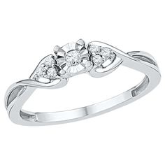 Women's 1/10 CT.T.W Round Diamond Prong/Miracle Set Promise Ring in 10K White Gold