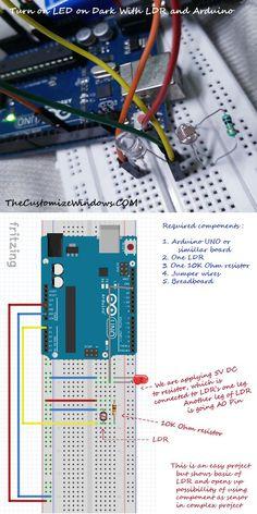 Turn On LED in Dark With LDR and Arduino. Very easy circuit diagram with minimum components. These basic projects with components are helpful to learn using sensor based logic.