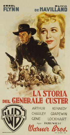THEY DIED WITH THEIR BOOTS ON (1941) - Errol Flynn - Olivia De Havilland - Arthur Kennedy - Charley Grapewin - Gene Lockhart - Directed by Raoul Walsh - Warner Bros. - Italian movie poster.