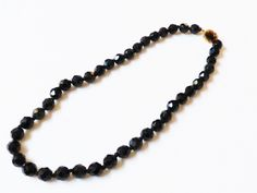 Vtg Black Round Faceted Glass Beads Gold Tone Clasp Necklace 16 034 L | eBay