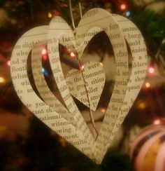 3D heart ornament from book paper with photo center