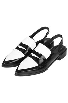 If flats are more your thing then make a statement in these monochrome slingback loafers from KYE at Topshop.