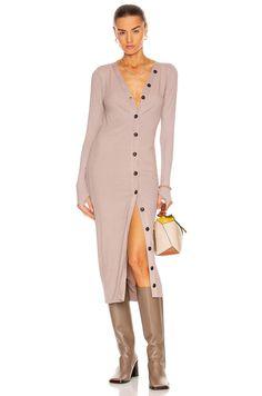 Enza Costa Viscose Rib Cardigan Ankle Dress in Oatmeal | FWRD