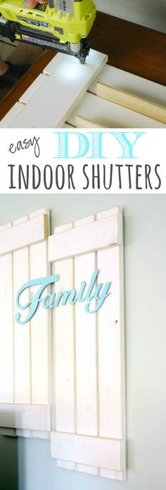 How to make your own farmhouse wood shutters. It's easy with this tutorial! Easy farmhouse decor idea.