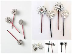 Make bejeweled bobby pins by simply securing jewels from old earrings to the ends, as done here.