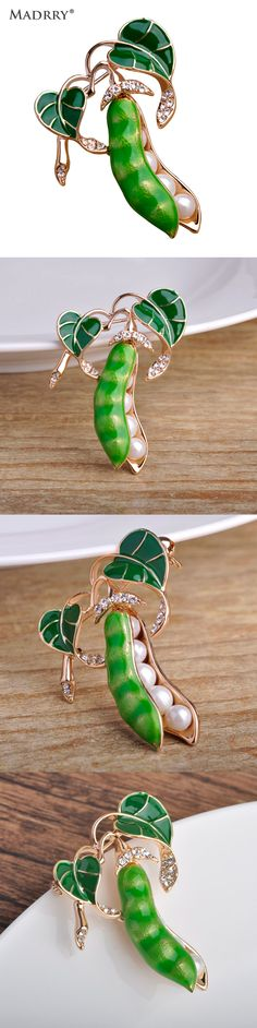 Madrry Vivid Enamel Esmalte Green Pea Brooches For Women Kids Simulated Pearls Oro Plated Broches Hijab Scarf Pins Dress Clips