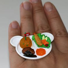 Kawaii Cute Miniature Food Ring  Kid's Lunch by fingerfooddelight, $10.00
