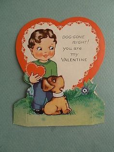 Vintage VALENTINE Day Greeting Card Stand Up Boy with Dog Puppy with Red Heart