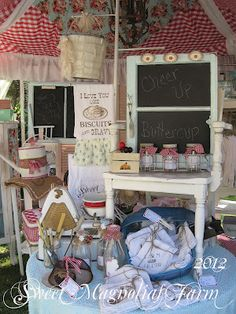 Sweet Magnolias Farm: Sweet Magnolias Farm .. at The Vintage Marketplace at the Oaks June 2012 Picts. ~ love the gingham and ruffle roof