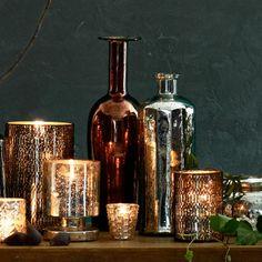 a lovely mercury glass vignette | Get the look here: http://www.copperproper.com/mercuryglass.html