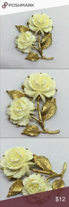 """Vintage Cream and Gold Double Rose Pin A 2"""" x 1 1/2"""" brushed gold pin with two Cream Celluloid roses. In excellent vintage condition. Very romantic and feminine. See the Pink roses pin similar to this one, elsewhere in my closet! Vintage Jewelry Brooches"""