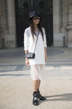 Pin for Later: The Best of Paris Fashion Week Street Style (Updated!) PFW Street Style Day 4 Edgy accessories met a feminine outfit.