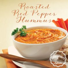 Stick to your resolution with healthy snacks, like Sweet Red Pepper Hummus.