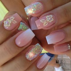 Elegant Rhinestones Coffin Nails Designs - New Ideas 3d Nails, Love Nails, Pink Nails, Gorgeous Nails, Pretty Nails, Glitter Nails, Matte Nails, Dimond Nails, 3d Flower Nails