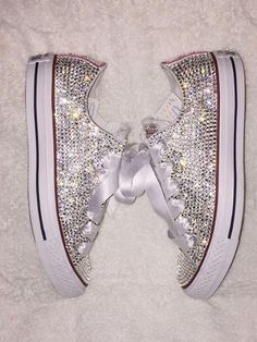 Schuhe Hohe Glitzer – Embellished Converse with Swarovski/ Womens/Bride/ Bling Converse by TaylorsPenn… – Schuhe Damen Bling Bling, Bling Shoes, Glitter Shoes, Prom Shoes, Bedazzled Shoes, Sparkly Shoes, Glitter Wine, Wedding Sneakers, Wedding Converse