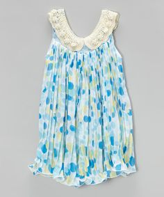 Another great find on #zulily! Blue Polka Dot Pleated Swing Dress - Infant, Toddler & Girls #zulilyfinds