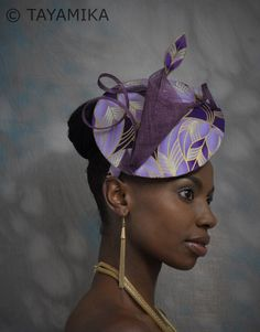 Check out our Purple ankara fabric selection for the very best in unique or custom, handmade pieces from our shops. African Hats, African Attire, African Wear, African Dresses For Women, Purple Fascinator, Fascinator Hats, Fascinators, Headpieces, Fascinator Hairstyles