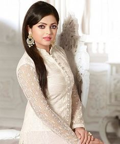 Georgette Palazzo Style Salwar Suit in White Colour Beautiful Girl Photo, Beautiful Girl Indian, Beautiful Women, Beautiful Dresses, Nice Dresses, Churidhar Designs, Salwar Neck Designs, Indian Bridal Wear, Dress Indian Style