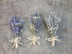 Handmade Wedding Boutonnieres Corsages - Lavender Boutonnieres, Lavender Corsages, Baby's Breath, Twine Rustic from thePoseyShop on Etsy. #rustic #twine #babysbreath #lavender #boutonniere #corsage #wedding.