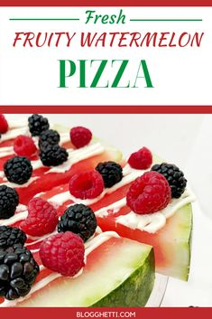 This Fruity Watermelon Pizza is easy to make and perfect for a light summer dessert.  Dessert pizza with berries and a cream cheese drizzle over a thick ripe slice of watermelon is great for kids and healthy, too. #watermelon #fruit #pizza #summerdessertweek #summer #healthy  via @blogghetti Light Summer Desserts, Best Summer Desserts, Summer Dessert Recipes, Fun Desserts, Easy Dinner Recipes, Delicious Desserts, Watermelon Pizza, Watermelon Recipes, Fruit Recipes