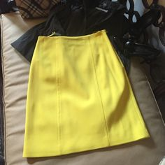 "Ralph Lauren skirt black label collection! Gorgeous Ralph Lauren canary Yellow Aline skirt from the ""Black label collection"" 96% Virgin wool 4% Elastane completely lined. The skirt is brand new and never worn. 🏇 Ralph Lauren Skirts A-Line or Full"