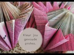 Gee jou gevoude proteas kleur. - YouTube Book Crafts, Paper Crafts, Paper Flowers, Flower Arrangements, Book Art, Make It Yourself, Youtube, Ideas, Floral Arrangements