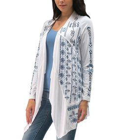 Take a look at this White & Blue Embroidered Jasmine Open Cardigan - Women on zulily today!