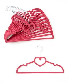 Another great find on #zulily! Hot Pink Heart Hanger - Set of 10 #zulilyfinds