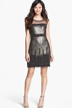Adrianna Papell Illusion Yoke Beaded Sheath Dress, £167.71, available at Nordstrom.