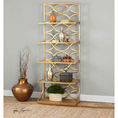 Lashaya Gold Etagere Uttermost Free Standing Shelves & Bookcases Home Office Furniture