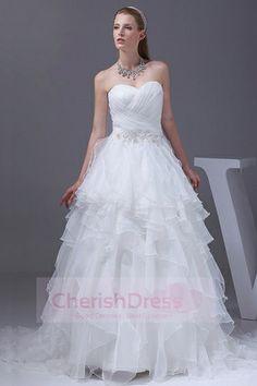Lovely Sweetheart White Princess  Wedding Dress