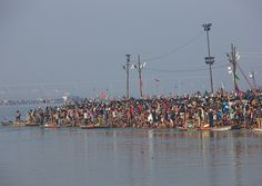 Pilgrims Bathing In Ganges, Maha Kumbh Mela, Allahabad, India, via Flickr. #seatsofthegoddess