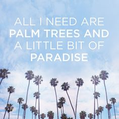 All I need are palm trees and a littel bit of paradise.