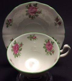 ADDERLEY FINE BONE CHINA FOOTED CUP SAUCER PINK ROSES GREEN RIM DESIGN ENGLAND