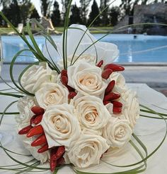 Cream Roses, Red Chilli Peppers + Green Lily Grass Sprays Wedding Bouquet